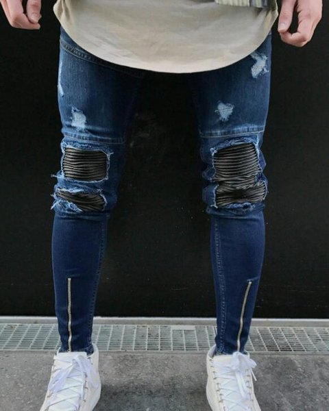 Designer New Mens Skinny jeans Casual Slim Biker Jeans Denim Knee Hole hiphop Ripped Pants Washed High quality Hip Hop Trouser Jeans