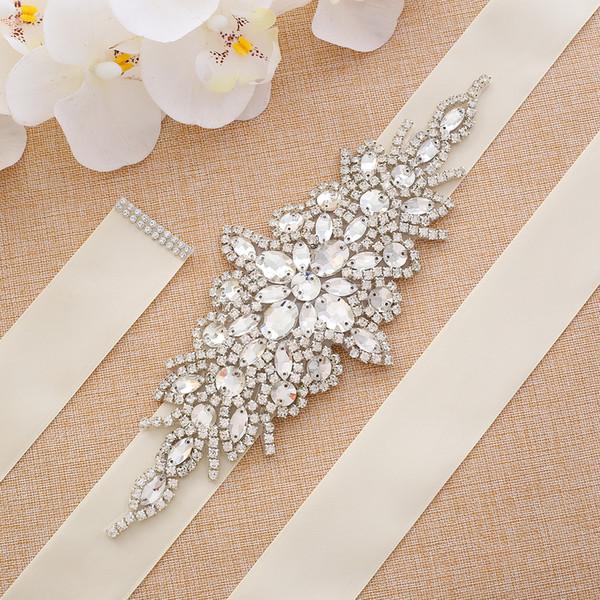 Fashion Pearls Wedding Belt Net Hot drilling Handmade Crystal Flat back Bridal Sash Simple Bridal Belt Sash For Wedding Dresses Sewing S101S