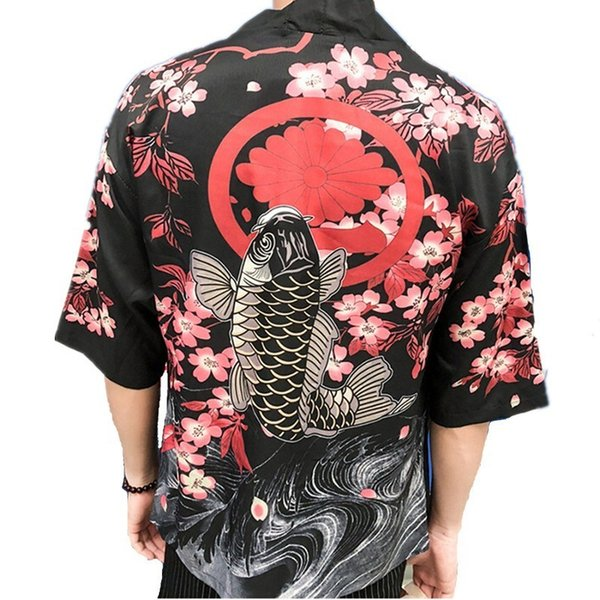 Kimono japonés Cardigan Camisa de Los Hombres de Sakura Carp Imprimir Mangas Medias Punto Abierto Blusas Hombre Playa de Vacaciones Ropa de Protección Solar desgaste