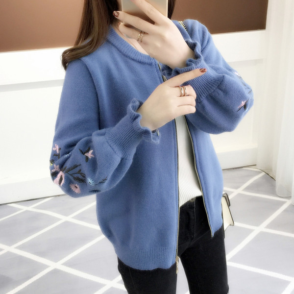 2018 autumn outfit sleeve knit cardigan embroidered lotus leaf loose women's clothing han edition zipper sweater coat