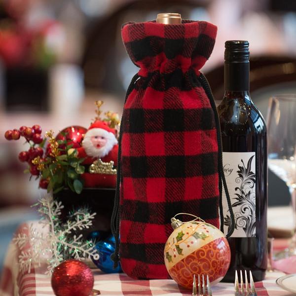 best selling Christmas Plaid Wine Bottle Bags Drawstring Red Plaid Wine Bottle Cover Christmas Gift Bag Festive Decoration HHA804