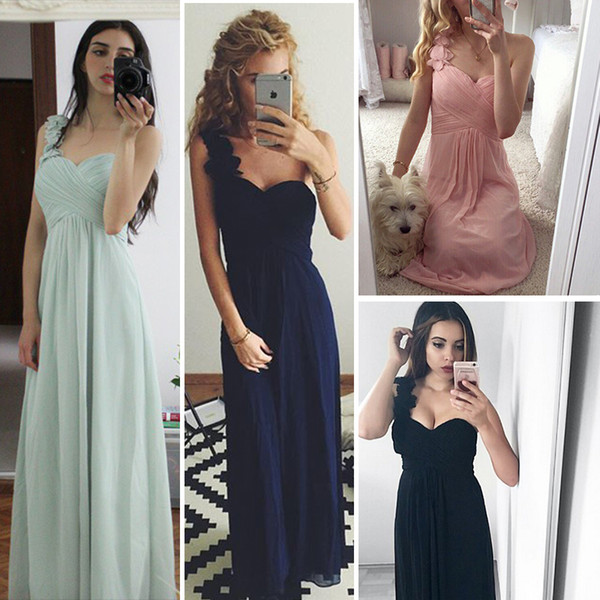 Cheap Long Evening Dresses Flowers One Shoulder Chiffon Padded Masala Red Women Ever Pretty Ep09768 Empire Waist Party Gowns Q190522