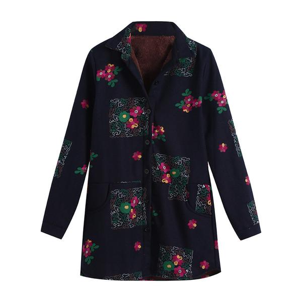 2018 Plus Größe Frauen Baumwolle Leinen Winter Warm Plus Samt Mantel Folk-Custom Print Outcoat Jacke Frauen Mantel Jacken