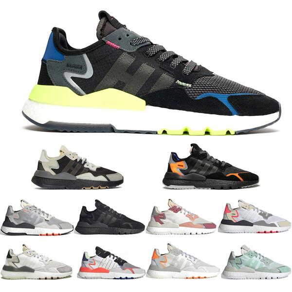 2019 Nite Jogging Yapan Koşu Ayakkabı 3 M Yansıtıcı Erkekler Womens Çekirdek Siyah BUZ Nane Erkek Eğitmen Rahat Yürüyüş Açık Havada Spor Sneakers Boyutu 36-45