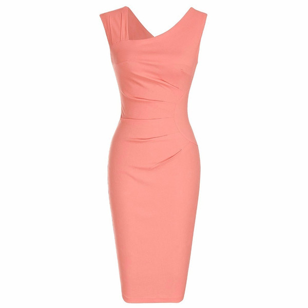best selling Women's Retro Sleeveless Slim Business Pencil Dress Ladies Vintage Solid Color Sheath Cocktail Party Bodycon Dresses GMX190708 GMX190708