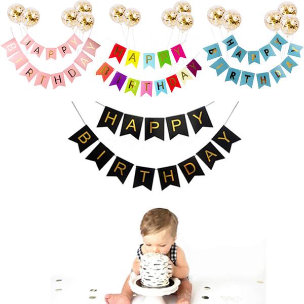 Acheter Papier Joyeux Anniversaire Bannière Guirlande Drapeau Avec De La Confetti Or Ballons Pour Bébé Douche Anniversaire Adulte Fête D Anniversaire