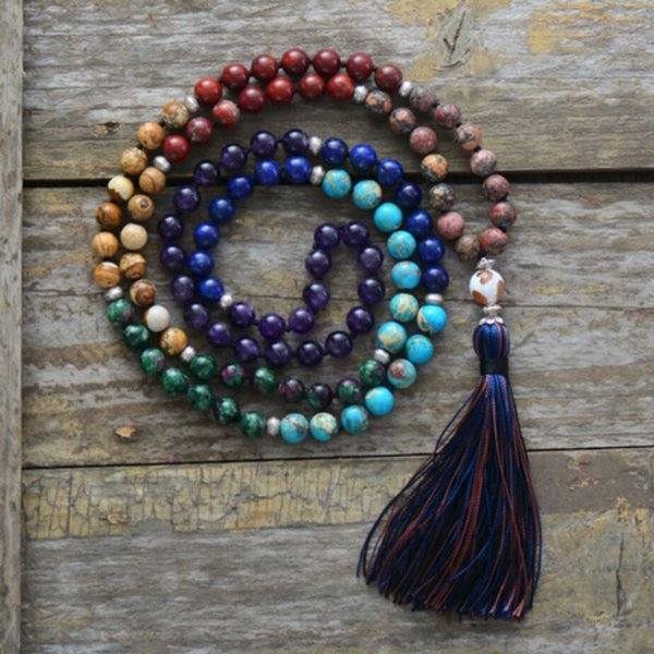 7 Chakra Mala Unique 8MM Natural Stone Long Tassel Necklace Women Meditation Necklace Knotted Bead Yoga Necklace Jewelry
