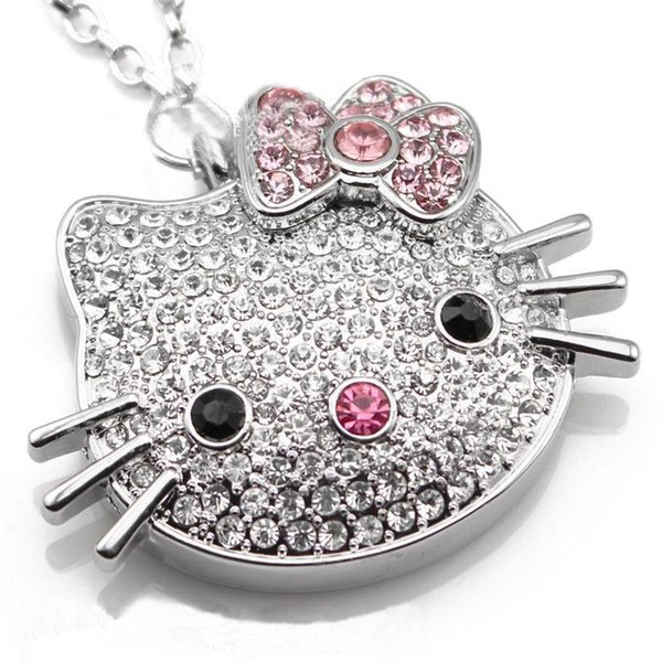Cute hello kitty pendant USB Flash Drive Bling bling crystal Usb Pen Drive storages 2gb 4GB 8GB 16GB 32GB 64GB Pendrive U Disk Wholesale