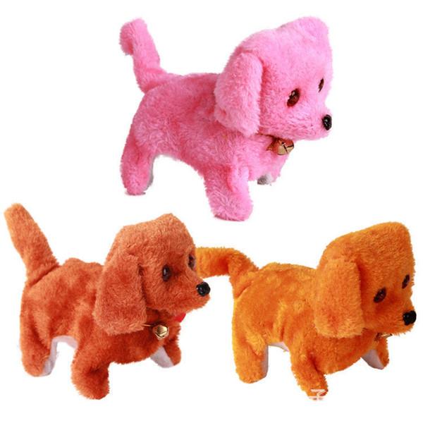 Chiens électroniques Enfants Les enfants Interactif Animaux en peluche électronique Poupée marche chien électronique jouet cadeau de Noël KKA7615