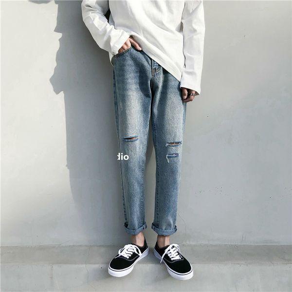 2019 Korean Style Men's Stretch Casual Pants Classic Skinny Holes Slim Fit Wash Jeans Black/blue Color Biker Denim Trousers