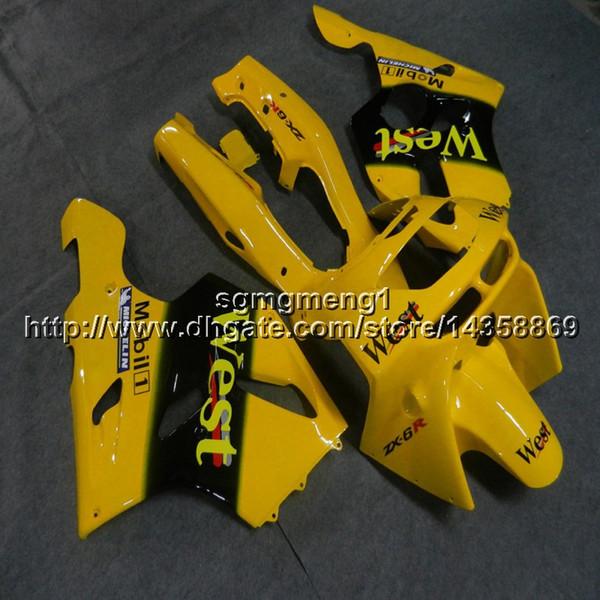 Viti + Cappuccio moto giallo regali per Kawasaki ZX-6R 1994 1995 1996 1997 Carenatura in plastica ABS