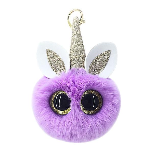 Golden pink eyes unicorn fur ball key chain pendant lady's purse car key hanger birthday gift.