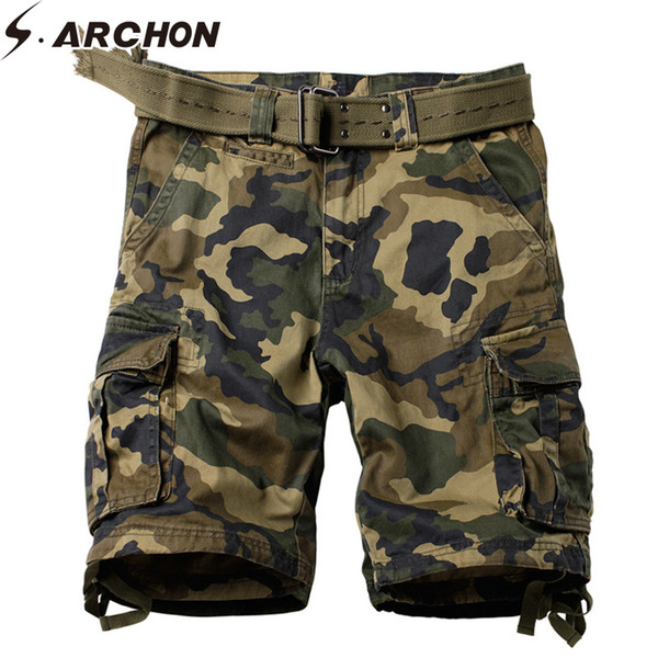 S.archon Style Militaire Camo Court Coton Tactique Armée De Travail Cargo Short Pantalon Casual Multi-poche Shorts Homme Plus La Taille 29-42 Y190508