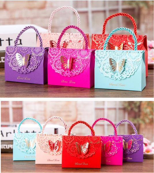 Lowest price! High-grade hollow butterfly candy gift bag handle, Small wedding gift boxes for guests