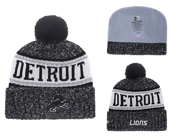 Men's Detroit Lions New Blue 2018 Sideline Cold Weather Black Official Sport Knit Hat 01