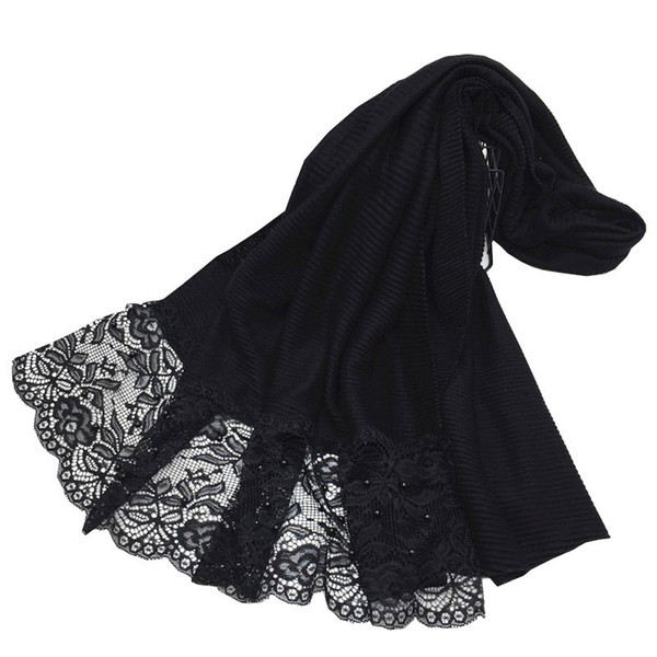 New Design Plain Ruched Wrinkle Women Amira Hijab Shawl Patchwork Lace Pearls Long Scarves Muslim Hijabs Turkish scarf