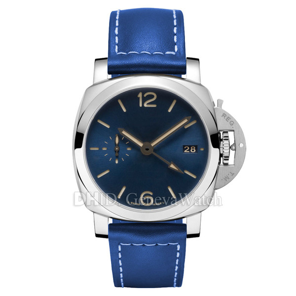Blue Dial Luxury Watch CAL.P.9001 Automatic Wristwatches 688 Cowhide Leather Strap Army 44mm 316L Stainless Steel Mens Designer Watches
