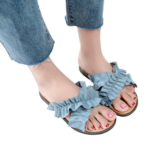 primer nivel 5e522 47714 Compre Zapatos De Plataforma Para Mujer 2018 Sandalia Moda Para Mujer  Sólido Flock Talón Plano Sandalias Con Punta Redonda Zapatillas De Playa #  G6 A ...