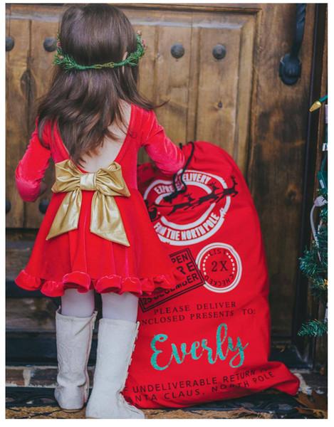 Girls Large Gold Bow Red Dresses New Year Kids Clothing Euro America 1-5T Little Girls Long Sleeves Backless Velvet Dresses