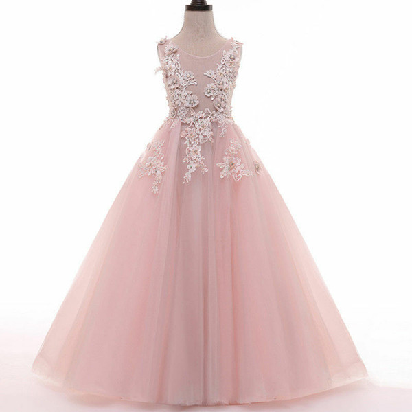 Pink Tulle Lace Transparent A Line Fairy Princess Pageant Flower Girl Dress Kids Birthday Beads Wedding Bridesmaid Gown Appliques Backless