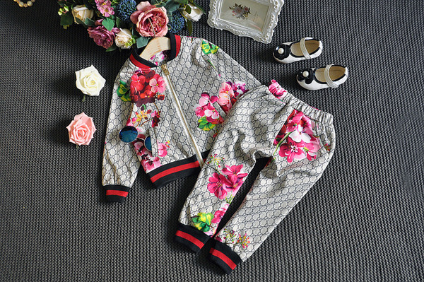 Fashion Tracksuit 2019 Baby Autumn Floral Clothes Set Kids Boy Girl Long Sleeve Top Flowers Pants 2 Pcs Suits