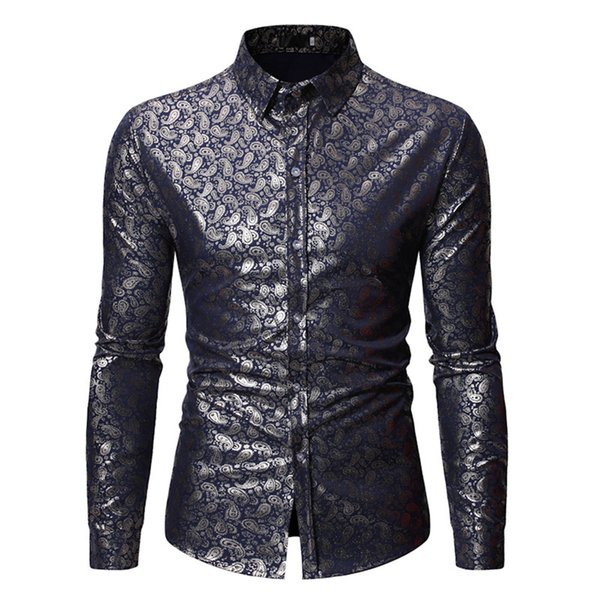 India Style Male Paisley Printed Shirt Long Sleeve Men Tops Turn-down Collar Gentleman Business Casual Blusa Man XL Loose Shirts