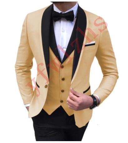Padrinhos bonitos xale lapela noivo smoking homens vestido de casamento homem jaqueta blazer jantar de baile 3 peça terno (jaqueta + calça + gravata + colete) B174