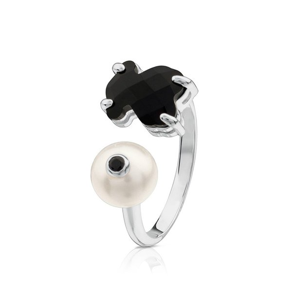 DORAPANG NEW 100% Sterling Silver Spinel Black Zircon Pearl Bear Ring 513635510 Charm Thai Silver Ring Adjustable Size Simple