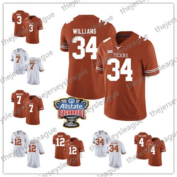 Maglia da calcio NCAA Texas Longhorns # 34 Ricky Williams 12 Earl Thomas III 10 Vince Young Bianco Arancione College S-3XL