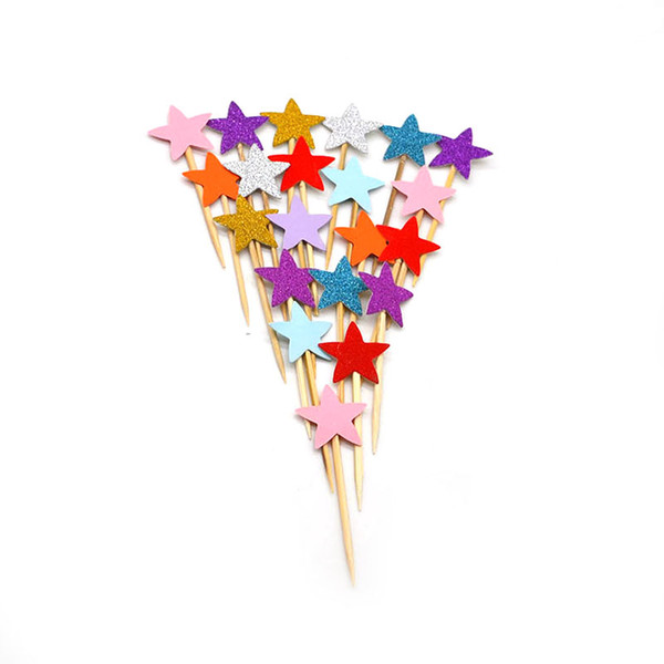 vent Party Decorating Supplies 40pcs Mini Star Cupcake Toppers Rainbow Paper Cake Falgs Cake Topper Baby Shower Kids Birthday Wedding Pa...