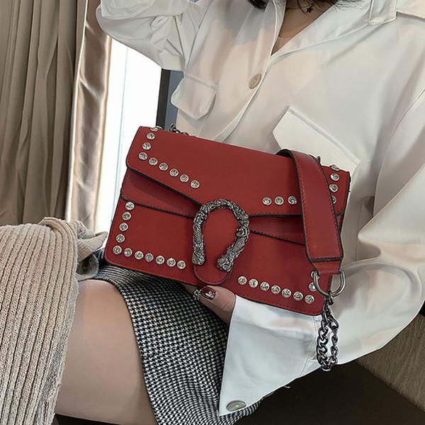 Yeni kadın Avrupa ve Amerikan moda elmas buzlu PU deri çevirme şarap tanrılar çanta omuz çapraz eğilim çanta