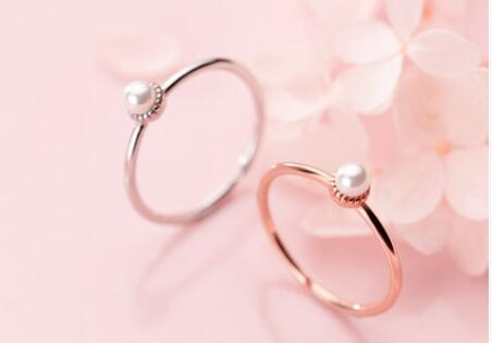 Women's wedding jewelry ring S925 Silver Ring Female Korean Version Small Fresh Shell Pearl Synthetic Pearl Sweet Opening Net Red Wind Singl
