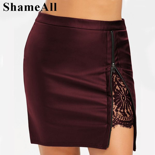 Plus Size 4xl 5xl Lace Patchwork Slim Zipper Skirt Large Size Bandage Pencil Skirts Lace Insert Pu Mini Pencil Skirts J190722