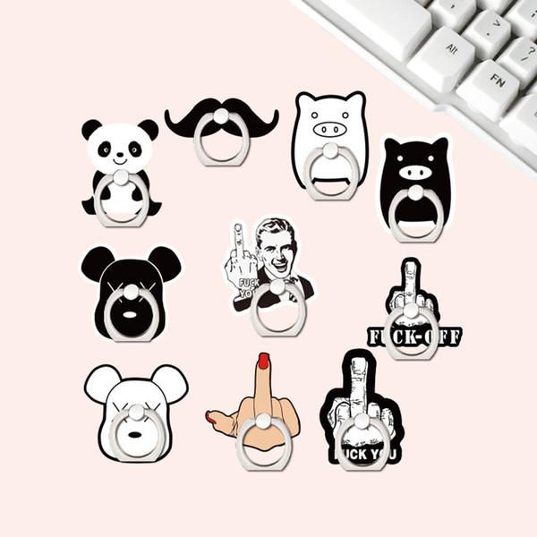 Emojis Panda Porco Sombrio Urso Dedo Médio Bigode Anel de Dedo Aperto Suporte Suporte Universal Suporte Kickstand para Celular Tablet