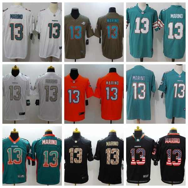 reputable site 0bf9a 84a90 2018 2019 New Mens 13 Dan Marino Jersey Miami Dolphins Football Jersey 100%  Stitched Embroidery Dolphins Dan Marino Color Rush Football Shirt From ...