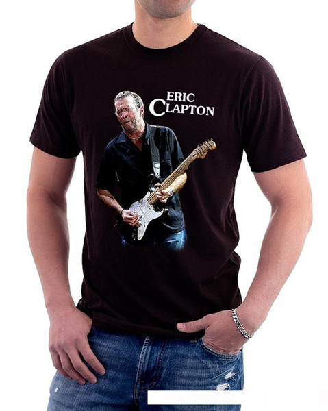 Eric Clapton Tocando Guitarra Música Logotipo dos homens T-Shirt 2018 Verão Nova Marca T Shirt Dos Homens Hip Hop T-Shirt Dos Homens de Fitness Casual