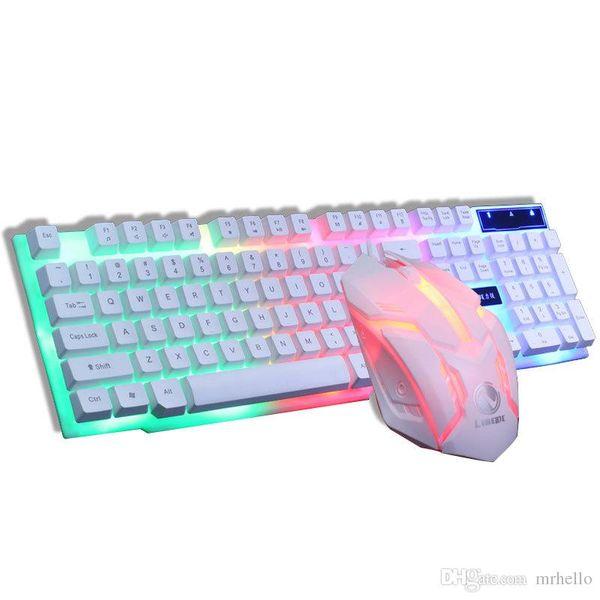 Tastiera inglese retroilluminata a LED GTX300 + mouse Combos Tastiera da gioco retroilluminata a 7 colori Tastiera da computer PC USB cablata
