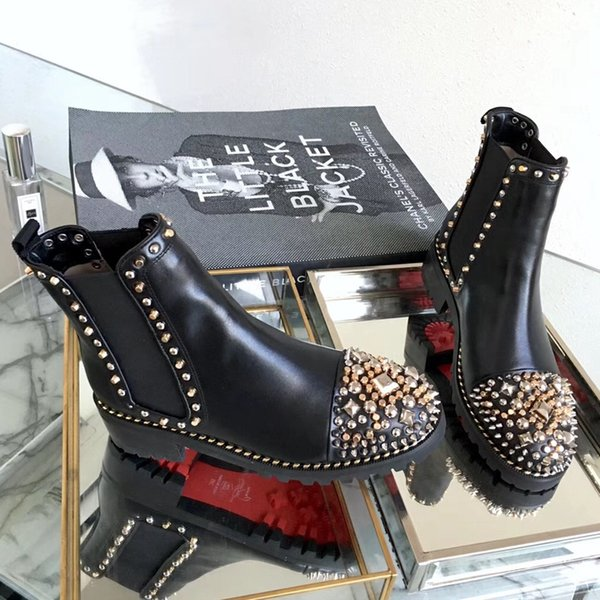 2019 Fashion luxury designer women boots red bottoms women Boot Girls Designer Luxury Shoes With Studded Spikes Party Boots Winter Shoes C05
