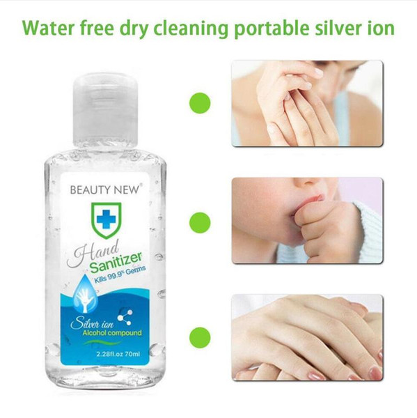 top popular 70ML Portable Mini High-efficiency Disinfection Hand Sanitizer Household Disinfectant Quick-Dry Beauty New Hand Sanitizer DHL Free Shipping 2021