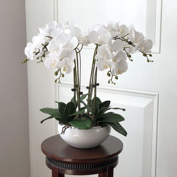 Compre 1 Juego De Orquídeas Flor De Toque Real Con Hojas Arreglo De Orquídeas Artificiales Bricolaje Arreglos Florales Sin Florero C18112601 A 4921
