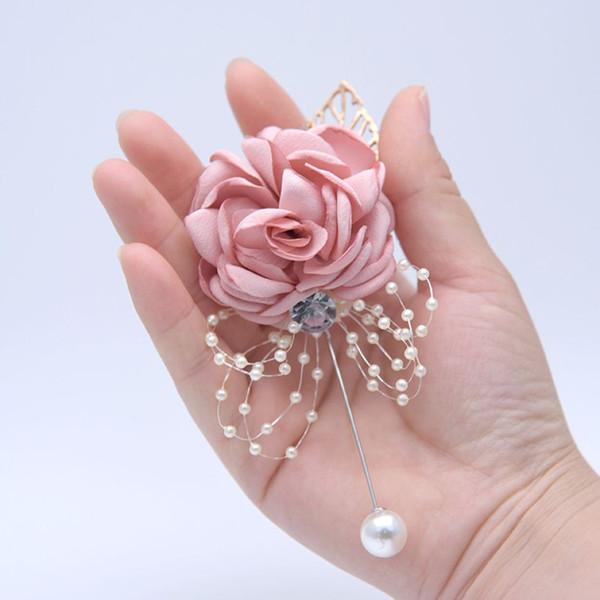 Wedding Imitation Flower Bride Corsage 5 Colors Bridesmaid Cloth Rose Corsage Flower Girl Wrist Flower 10 Pieces ePacket