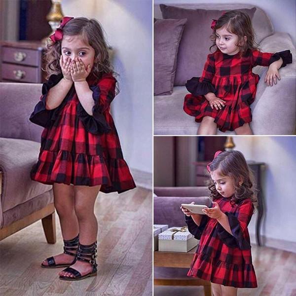 Kırmızı Ekose Flare Kol A-line Elbise Çocuklar Için Bebek Kız Doğum Günü Çocuk Sonbahar Yüksek Bel Kızlar Pamuk Slim Fit Sevimli giysi