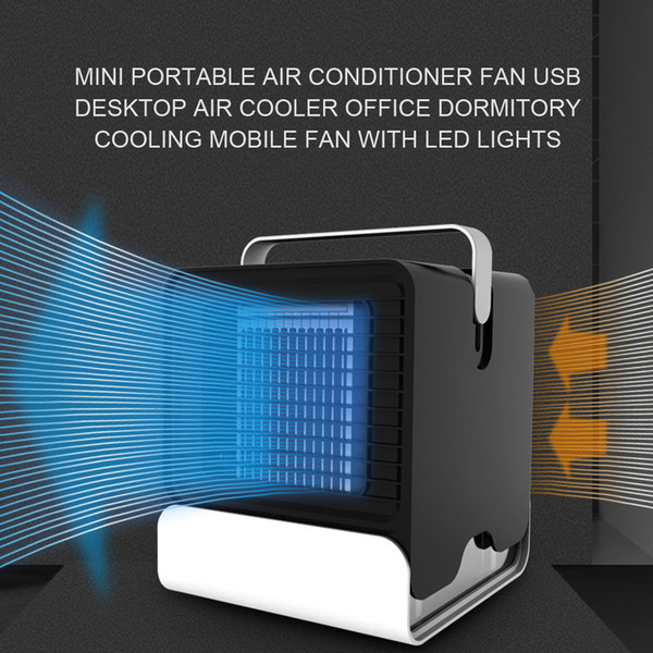 KKMOON Portable Air Conditioner Fan Mini USB Desktop Air Cooler Office Dormitory Cooling Mobile Fan with LED Lights
