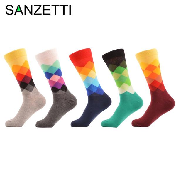SANZETTI 5 çifti Casual Çorap Pamuk Marka Harajuku Erkekler Çorap Renkli Elbise Örme Uzun Komik Çorap Düğün Hediyeleri ABD Boyutu