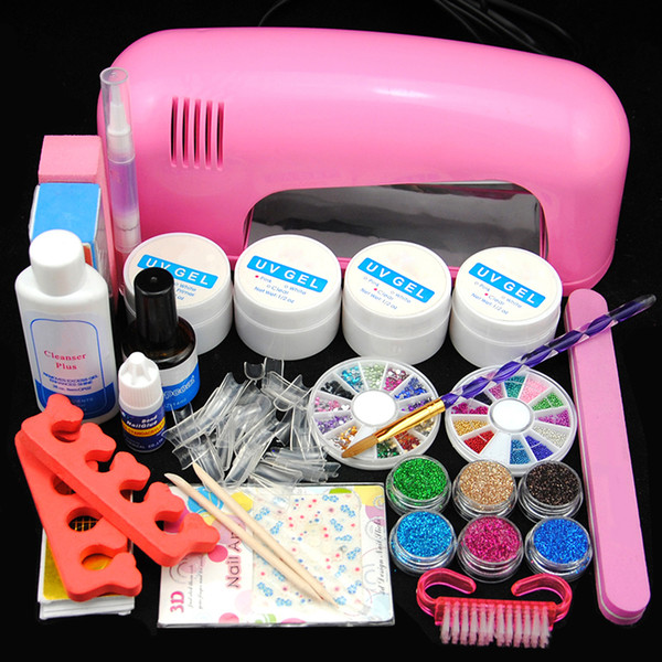 Kit de manicura Nail Art Kit de manicura UV Gel Nail Art Kit 9W Secador de gel Limpiador Plus Brillo Decoración Rhinestones Pro Design