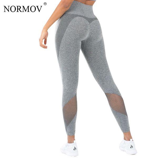 Normov Leggings Women Solid Color Mesh Push Up Pants Workout Leggins Skinny Jeggings Female Fitness Legging Q190509