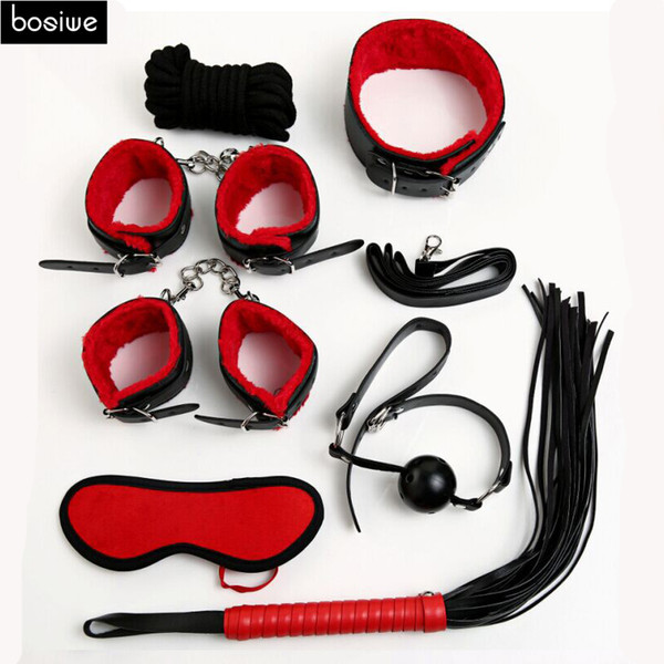Sex Bondage Kit Set 7 Pcs Sexy Product Set Adult Games Toys Set Hand s Foot Whip Rope Blindfold Couples Erotic Toys Y18110802