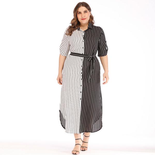Robe d'été taille irrégulière plus les femmes Bureau élégant Night Party Dress Casual rayures blanc chemise noire Robes Robe Robes