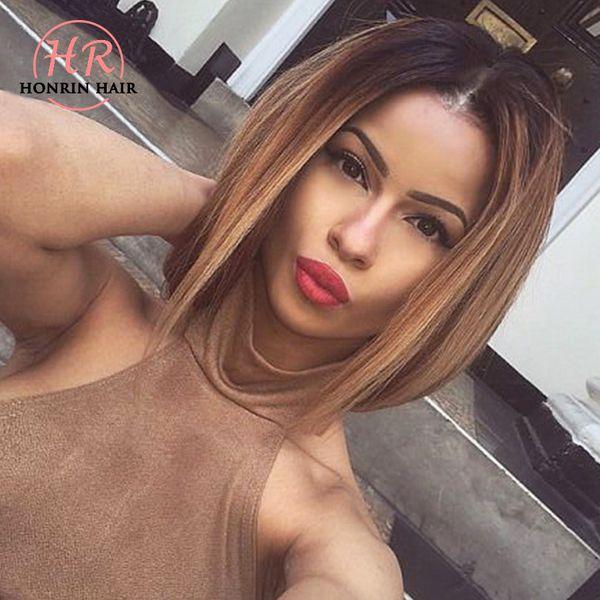 Honrin Saç Tam Dantel İnsan Saç Peruk Kısa Bob Peruk Ombre T1B / 30 Brezilyalı Bakire Saç Ön Koparıp Hairline 150% Yoğunluk Ağartılmış knot