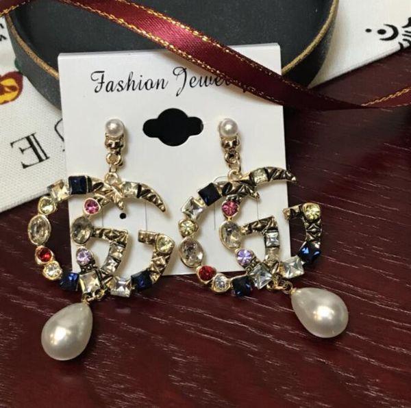 2019 new Korean fashion sweet lady pearl earrings letter pineapple earrings personality hipster net red wild lady earrings